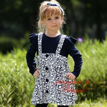 En línea producto los niños vestido de invierno Navy Bule largo diseño de lujo de manga chica Casual Wear GD80720-2
