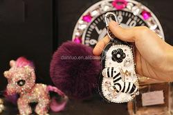 Fashion mini Leather key bag/keychain Rabbite Fur ball