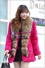 2015NEW Simple style MD-LONG coat,magenta rabbit fur coat with raccoon fur collar.