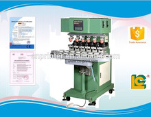 semi-automatic pneumatic 6-Color Conveyor Belt pen pad printing machine with open tray