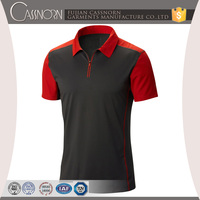 classic breathable polyester slim fit short contrast sleeve man polo t-shirt