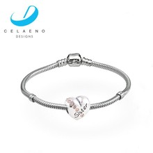 925 Silver Snake Chain Bracelet With Silver European Charms 925 Sterling Silver Bracelet