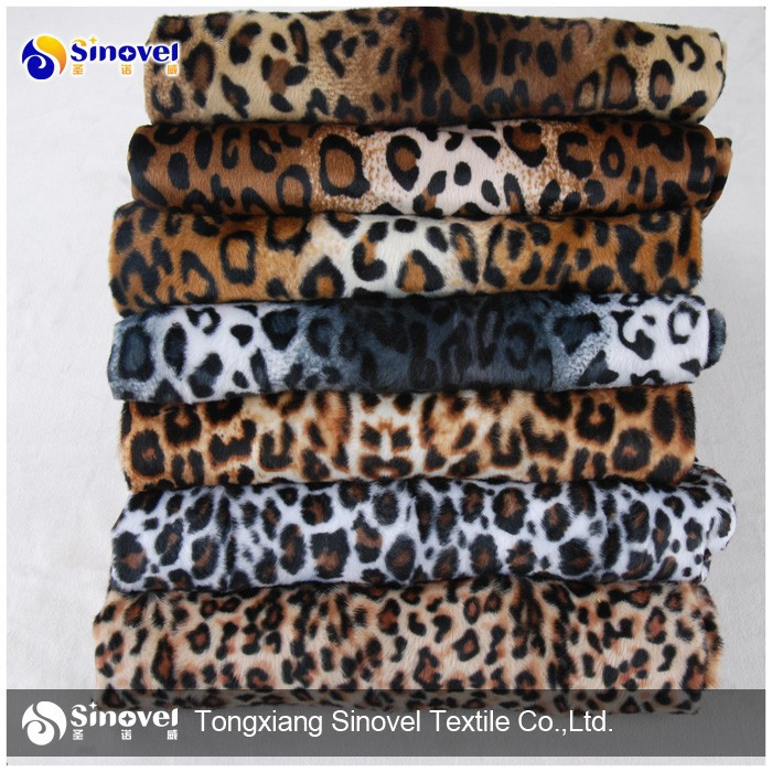 polyester animal skin print velboa textile fabric leopard