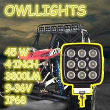 Easy to fit motorcycle scooter tractor jeep Spot/flood beam 4x4 4WD small square 45w led work light led driving light