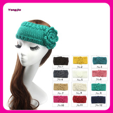 ladies fashion knit headband with big flower ,hair accessories for women