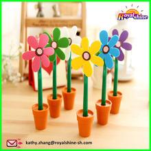 Popular Creative Cartoon Lovely Sun Flower Design Ballpoint Pen, Plant Pot Pen