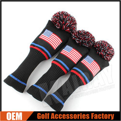 OEM USA Flag Embroidery Knitted Pom Pom Driver Fairway Wood Golf Headcover Set
