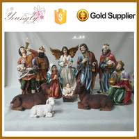 2015 new color for 12 inch resin christmas nativity set YLA047B1-12