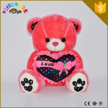 Plush rose red bear with a black love heart toy used stuffed animals bear toy