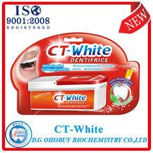 2013 CT-blanco plena eficacia blanquear pasta dental con fluoruro libre de marca para el cuidado oral diaria