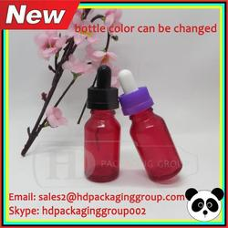 1/2 oz red cleared glass bottle child resistant cap