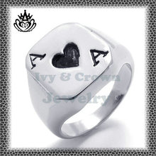unique fashion stainless steel STZJ073 poker ring jewelry for men