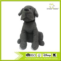 Deep Gray Soft Cord Ribbed Cute Dog Door Stop