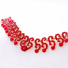 The bride marriage yarn stage accessories accessories alloy diamond necklace earrings set jewelry set WLTZ-1035