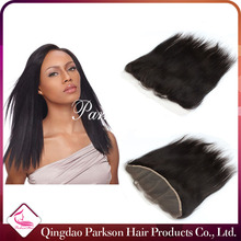 STOCK Cheap black sliky straight Peruvian human hair lace frontal piece 13*4 lace frontal with baby hair