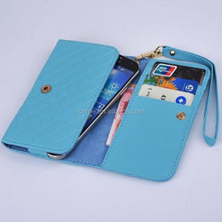 Grid PU Leather Wristlet Purse Wallet Case Cover For Multi Phone Model/ for blackberry Z10