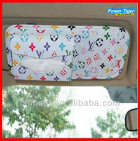 Car CD Leather Case Visor Organizer With Tissue Box Car Accessory