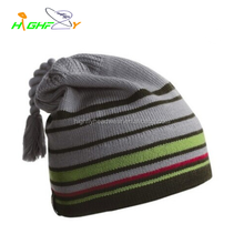 wholesale/quality striped kniting Bobble Hat/Custom crochet Beanie woman's Hat/wool fabric for Pom Beanie