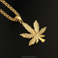 2015 Brand New 24K Gold Plated Weed Herb Charm Punk Necklace and Wheat Chain Hip Hop Pot Leaf Weed Small Necklace Pendant