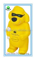6x4.5x12cm promotional gift PU yellow dog stress ball/personalized PU material foam yellow dog/PU stress yellow dog kids toys