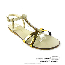 China supplier breaded T-strap ankle strap flats high quality low price ladies sandals