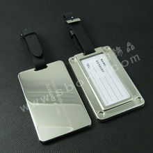 Personalized Metal zinc alloy silver color Rectangle luggage tag