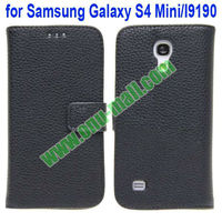 Litchi Lines Leather Back Cover for Samsung Galaxy S4 Mini with Card Slots and Stand