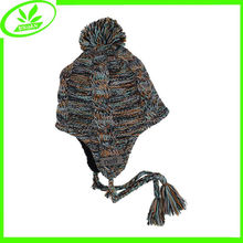 Skull knitted plain snow hat with earflap