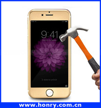 Wholesale For iPhone 6 screen protector tempered glass / 9H Custom Clear Gold tempered glass screen protector