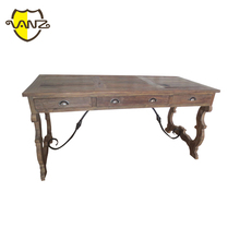 Luxury French Louis XV Style Golden Wood Carved Office Desk/ European Classic Executive Desk/ Antique Home Writing Desk(K VZF001