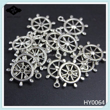 HY0064 DIY Alloy Jewelry Findings Antique Silver Plated Charms Compass Connectors For bracelet Accessories