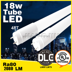 4ft 18w LED tube bulbs DLC UL listed 5000K Daylight CRI 90 driver from two end