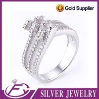 Shiny polish aaa cz stone 925 sterling silver professional carved ring