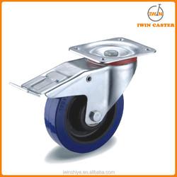 Blue elastic rubber wheel caster wheel swivel or fixed or swivel with brake