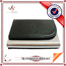 promotional gifts metal and pu leather business card case black magnetic