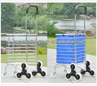 Aluminum folding hand travel luggage trolley cart with wheels, Folding Collapsible Storage Trolley Cart Shopping Crate
