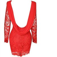 Knee-length with backless Women summer short long sleeves red lace dress
