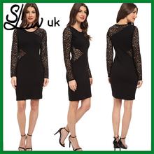 2015 novo estilo reino unido personalizado partido ocidental vestidos de desgaste preto cintura frisada formal vestido
