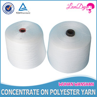 Cheapest 18s/2 raw white spun polyester sewing thread for knitting