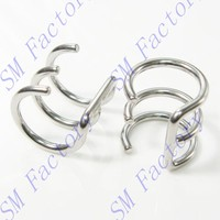 stainless steel 3-hoop fake conch earrings no piercing needed body jewelry --SMFJ429116