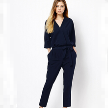 Big brand show style V neck 3/4 sleeve jumpsuit in Europe long pants casual trousers