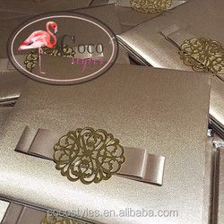luxurious silver hard cover invitation card with silver metal