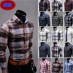 2015 alibaba China hot sale uk fashion latest new model 100% cotton slim fit check men's dress long sleeve shirt