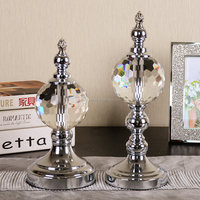 2016 Canada Modern Crystal Glass Home Decor With Chrome Metal Stand Home Decoration Pieces Folk Art Craft