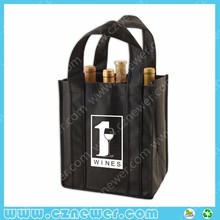 Six pack recycled non woven wine bottle bag with custom brand image