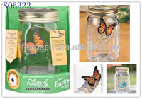 Promotional Cheap Electronic Butterfly in a Jar/Solar Butterfly Jar/Solar Jar Gift SO6222