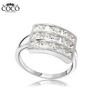 Fashion Wedding Finger Rings 18k Gold Plated Cubic Zirconia Female Ring For Women Bridal Accessories Evening Party Jewelry