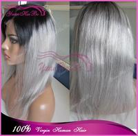 Top Quality! 10-32inch silver grey two tone virgin peruvian short bob cut ombre gray full lace wig