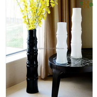 black and white tall bamboo shaped glass vases for decoration