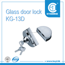 KG-13D single lock single openning with iron key double sides clipping glass door locking hardware